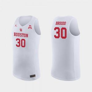 Men's UH Cougars #30 Caleb Broodo White Replica College Basketball Jersey 178507-763