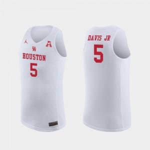 Mens Houston Cougars #5 Corey Davis Jr. White Replica College Basketball Jersey 251585-565