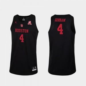 For Men Houston Cougars #4 Justin Gorham Black Replica College Basketball Jersey 716480-948