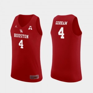Men UH Cougars #4 Justin Gorham Red Replica College Basketball Jersey 171168-707