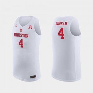 For Men University of Houston #4 Justin Gorham White Replica College Basketball Jersey 688145-597