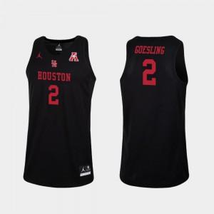 For Men University of Houston #2 Landon Goesling Black Replica College Basketball Jersey 762051-542