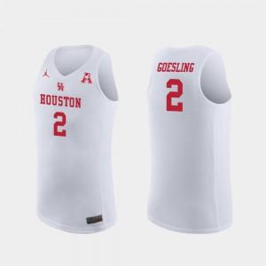For Men Houston Cougars #2 Landon Goesling White Replica College Basketball Jersey 423607-289