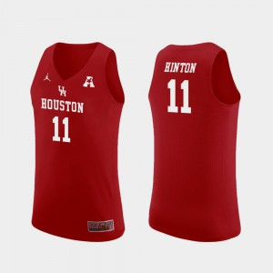 Men Houston Cougars #11 Nate Hinton Red Replica College Basketball Jersey 317920-404