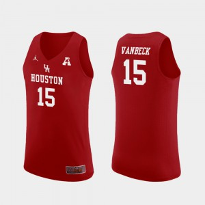 Mens UH Cougars #15 Neil VanBeck Red Replica College Basketball Jersey 359107-330