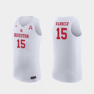 Mens Houston Cougars #15 Neil VanBeck White Replica College Basketball Jersey 939412-712