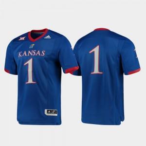 Men Kansas Jayhawks #1 Royal Premier Football Jersey 823397-641