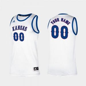 For Men's University of Kansas #00 White Classic College Basketball Customized Jerseys 523220-422