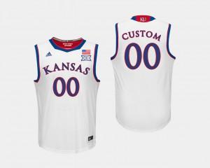 For Men University of Kansas #00 White College Basketball Custom Jersey 662219-843