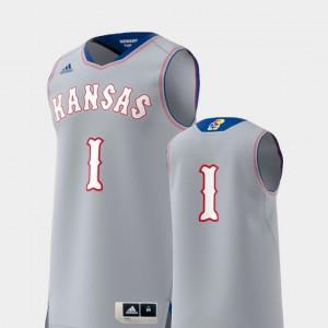 Men KU #1 Gray Basketball Swingman College Replica Jersey 601960-865