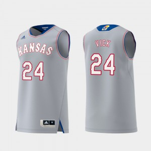 For Men's University of Kansas #24 Lagerald Vick Gray Replica Swingman College Basketball Jersey 707165-288