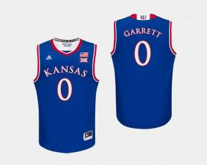 Mens Kansas Jayhawks #0 Marcus Garrett Royal College Basketball Jersey 132677-954