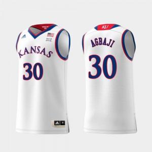 Men's University of Kansas #30 Ochai Agbaji White Replica Swingman College Basketball Jersey 947906-473