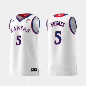 Men Kansas #5 Quentin Grimes White Replica Swingman College Basketball Jersey 841128-229