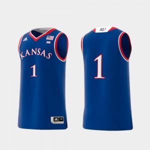Men's Kansas Jayhawks #1 Royal Basketball Swingman College Replica Jersey 600335-139