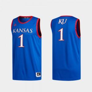 For Men's University of Kansas #1 Royal Basketball Swingman Swingman Basketball Jersey 527695-822