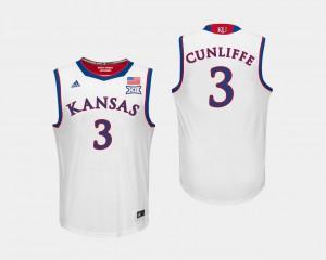 Men's University of Kansas #3 Sam Cunliffe White College Basketball Jersey 648908-456