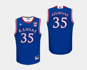 For Men's Kansas #35 Udoka Azubuike Royal College Basketball Jersey 279875-890