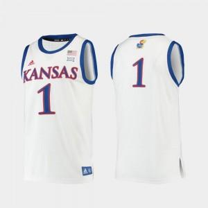 For Men Kansas #1 White Replica College Basketball Jersey 738365-694