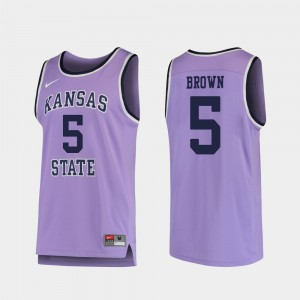 Mens Kansas State University #5 Barry Brown Jr. Purple Replica College Basketball Jersey 149297-662