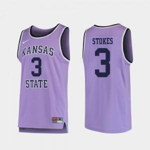 For Men's K-State #3 Kamau Stokes Purple Replica College Basketball Jersey 288581-162