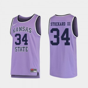 For Men's Kansas State Wildcats #34 Levi Stockard III Purple Replica College Basketball Jersey 787552-774