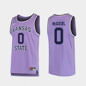 Men's Kansas State Wildcats #0 Mike McGuirl Purple Replica College Basketball Jersey 750199-993