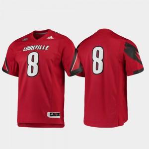 For Men's University Of Louisville #8 Red Premier Football Jersey 791378-938
