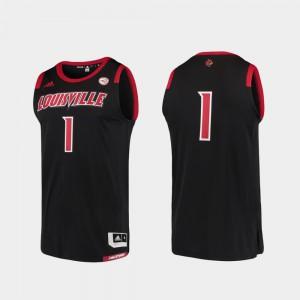 Mens Louisville #1 Black Basketball Swingman College Replica Jersey 884804-114