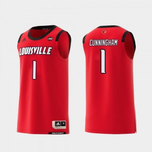 For Men's Louisville #1 Christen Cunningham Red Replica College Basketball Jersey 992136-734