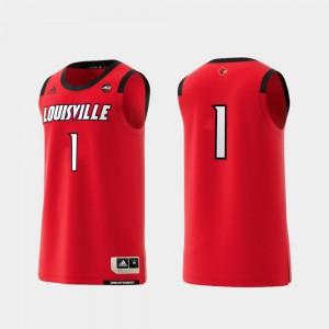 For Men's U of L #1 Red Basketball Swingman College Replica Jersey 678425-497
