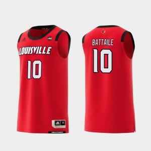 Mens Louisville Cardinal #10 Wyatt Battaile Red Replica College Basketball Jersey 555608-277