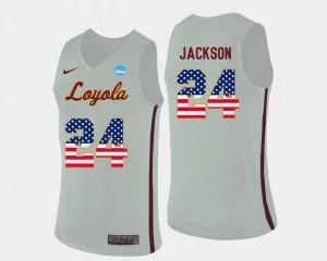 Men's Loyola #24 Aundre Jackson White US Flag Fashion Basketball Jersey 558528-984