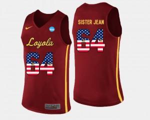 Mens Ramblers #64 Sister Jean Maroon US Flag Fashion Basketball Jersey 746209-343