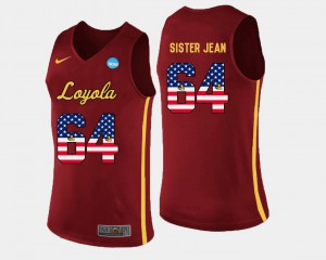 Men's Loyola #64 Sister Jean Maroon US Flag Fashion Basketball Jersey 306974-676
