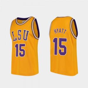 Mens LSU #15 Aundre Hyatt Gold Replica College Basketball Jersey 970223-171