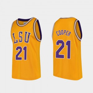 Men's Tigers #21 Courtese Cooper Gold Replica College Basketball Jersey 250150-621