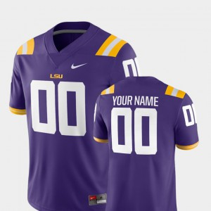 For Men LSU #00 Purple College Football 2018 Game Customized Jersey 166489-308