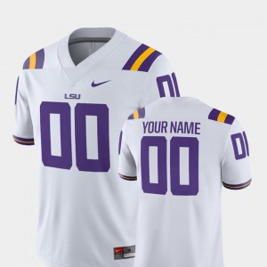 For Men LSU #00 White College Football 2018 Game Customized Jerseys 215976-286