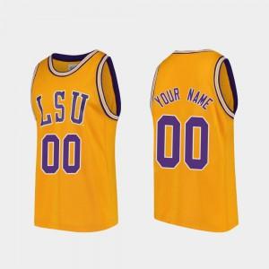 For Men's LSU #00 Gold Replica College Basketball Custom Jersey 466902-357