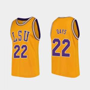 For Men's LSU Tigers #22 Darius Days Gold Replica College Basketball Jersey 968743-209