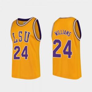 Men LSU #24 Emmitt Williams Gold Replica College Basketball Jersey 299863-513