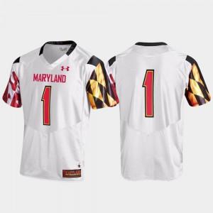 Men's Maryland Terrapins #1 White Replica Jersey 911262-206