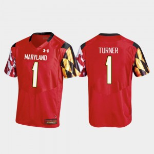 Mens University of Maryland #1 DJ Turner Red College Football Replica Jersey 316784-316