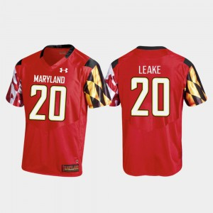 For Men Maryland Terrapins #20 Javon Leake Red College Football Replica Jersey 593111-495