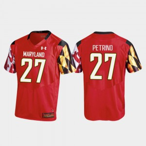 For Men's Maryland Terrapins #27 Joseph Petrino Red College Football Replica Jersey 310049-265