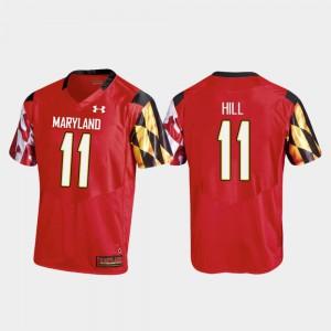 Men Terrapins #11 Kasim Hill Red College Football Replica Jersey 520442-768