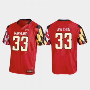 For Men's Maryland #33 Tre Watson Red College Football Replica Jersey 424517-418