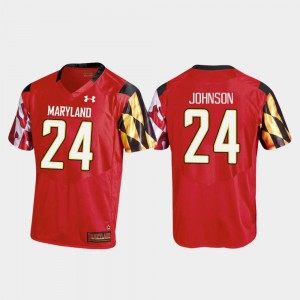 For Men's University of Maryland #24 Ty Johnson Red College Football Replica Jersey 491559-752