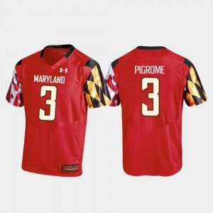 For Men Maryland Terrapins #3 Tyrrell Pigrome Red College Football Replica Jersey 886190-617